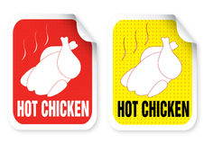 Label with a roast chicken illustration Stock Photos