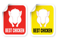 Label with a roast chicken illustration Royalty Free Stock Photos