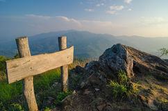 Label and rock on the top of Thailand Mon Long mountain in twilight evening. Landscape Chiang Mai Royalty Free Stock Images