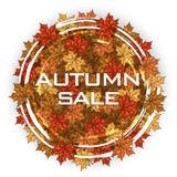 Label rond avec des feuilles d'érable d'automne Trame d'automne Photographie stock libre de droits