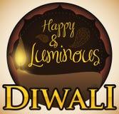 Label rond avec Diya Decorated allumée avec Paisley pour Diwali, illustration de vecteur Images libres de droits