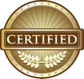 Label rond certifié de vintage d'or illustration de vecteur