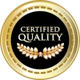 Label rond certifié de vintage d'or de qualité illustration de vecteur