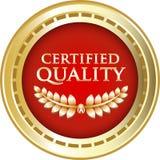 Label rond certifié de vintage d'or de qualité illustration stock
