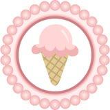 Label rond de cornet de crème glacée rose illustration de vecteur