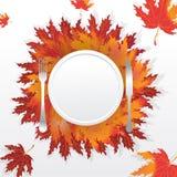 Label rond de feuilles d'automne illustration libre de droits
