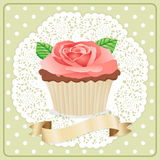 Label Rose Flower Cupcake Royalty Free Stock Photography