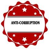 Label rouge avec l'ANTI texte de CORRUPTION Images stock