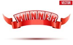 Label rouge avec les lettres blanches dans le gagnant de mot Photos libres de droits