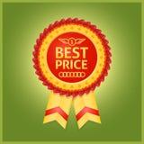 Label rouge des meilleurs prix sur le vert Image stock
