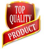Label rouge indiquant la haute qualité de produit Image stock