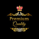 Label with ruby king crown Royalty Free Stock Photo