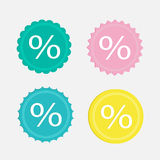 Label sale percent set. Flat design. Royalty Free Stock Images