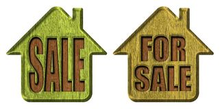 Label sale. Wooden advertising label Stock Photos