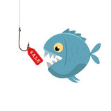 Label sales on a fishing hook. Bait fish. Vector illustration Stock Image