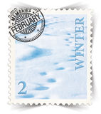 Label for seasonal products ads or calendars stylized as post stamp Stock Photos
