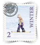 Label for seasonal products ads or calendars stylized as post stamp Royalty Free Stock Image