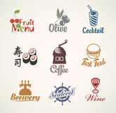Label set. Set of characters on the theme of food and drinks Royalty Free Stock Images