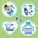 Label set with elements for Asian newborn baby boy Stock Images