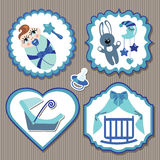 Label set with elements for European newborn baby boy Royalty Free Stock Image