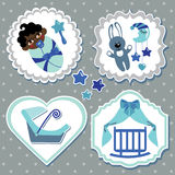 Label set with elements for mulatto newborn baby boy Royalty Free Stock Photography