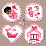 Label set with elements for mulatto newborn baby girl. A set of cute cartoon Label with elements for mulatto newborn baby girl. Baby cartoon icons,scrapbooking Stock Photos