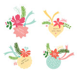 Label set flower Christmas Stock Photography