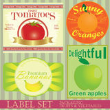 Label set: fruits and vegetables Royalty Free Stock Image