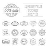 Label set icons in outline style. Big collection of label vector symbol stock illustration Stock Photography