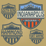 Label set Indiana cities Royalty Free Stock Image