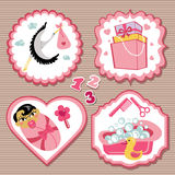 Label set with items for Asian newborn baby girl. A set of cute cartoon Label with items for Asian newborn baby girl. Baby cartoon icons,scrapbooking elements Stock Image