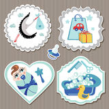 Label set with items for European newborn baby boy Stock Photo
