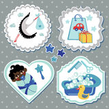 Label set with items for mulatto newborn baby boy Stock Images
