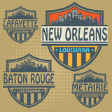 Label set Louisiana cities Royalty Free Stock Images