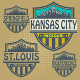 Label set Missouri cities Royalty Free Stock Photo