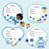 Label set with newborn baby boy and baby shower Stock Photography