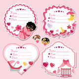 Label set with newborn baby girl and baby shower. Set of cute cartoon Label with items for newborn baby girl. Use for invitation,save the date card.Vector Royalty Free Stock Photography
