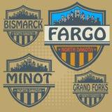 Label set North Dakota cities Royalty Free Stock Photos
