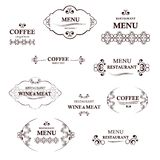 Label set for restaurant and cafe. Collection of vintage coffee and restaurant labels. Royalty Free Stock Images