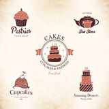 Label set for restaurant menu, bakery and pastry shop Stock Images