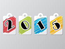 2015 label set with scribbled colors Stock Images