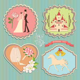 Label set with wedding elements Royalty Free Stock Photo