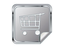Label with shopping cart Stock Photography