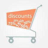 Label shopping cart with discount. Royalty Free Stock Photos