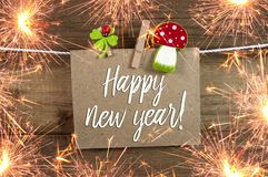 Label Sign and chalkboard with Happy New Year New Years Eve with 2019 and shamrock stock photography