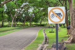 The label Signs prohibiting motorcycles royalty free stock photos