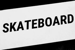 Label for skateboard - a sports equiment stock photography