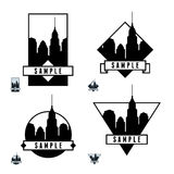 Label with skyscrapers Stock Photos