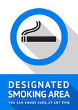 Label smoking area sticker, flat design Royalty Free Stock Photography