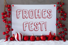 Label, Snow, Balls, Frohes Fest Means Merry Christmas Royalty Free Stock Images